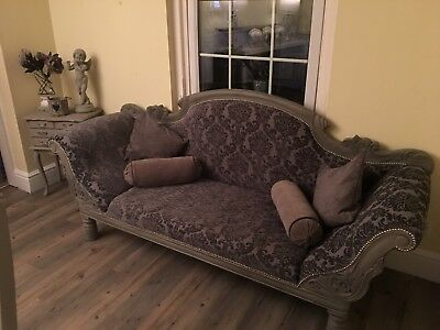 Double ended Elegant Grey/silver Damask Chenille Ornate chaise sofa
