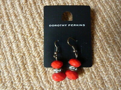 9c1d4148f DOROTHY PERKINS -RED and Gold Metal Feathers & Beaded Drop Earrings ...