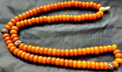 FINE ANTIQUE  187 gr. OLD AMBER ISLAMIC BALLS PRAYER BEADS ROSARY MISBAHA