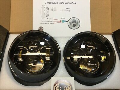 "LED Headlights Pair Land Rover Defender 90 110 RHD + LHD E MARKED 7"" Inch H4"