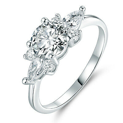 Flower 8mm Clear Crystal Sapphire Silver Gold Filled Women Lady Engagement Rings