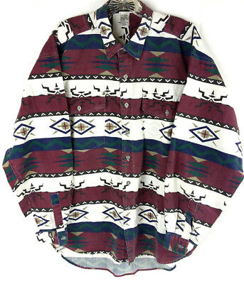 4185834b Vtg Motto Reddot Western Shirt Sz L Button Down Cowboy Aztec Print Tribal  Yoke
