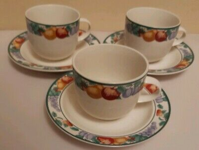 3 x SETS INTRO STONEWARE CUPS AND SAUCERS