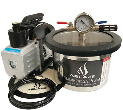 ABLAZE 1.5 Gallon Stainless Steel Vacuum Degassing Chamber And 3 CFM Single Kit
