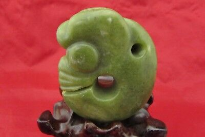 Chinese green jade hand carved strange dragon pig jade pendant c138