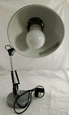 Unbranded Metal Grey Anglepoise Lamp with Round Base (Includes Bulb) GOOD USED