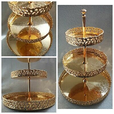 Gold 3 Tier Cake Tray Indian Round Gallery Plate Paandan Paan Tea Tray Biscuit