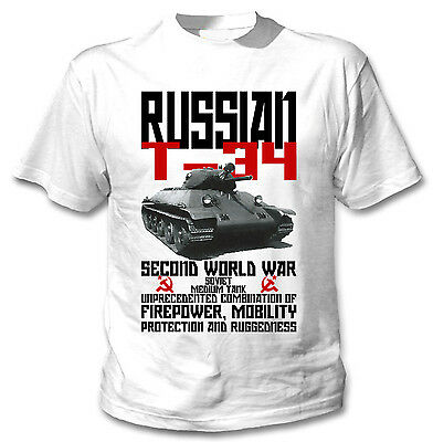 Russian T-34 Tank Wwii - New Cotton White Tshirt