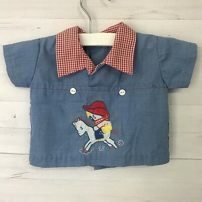 Vintage Infant Baby Boy Collared Shirt Chambray Red Gingham Horse Cowboy