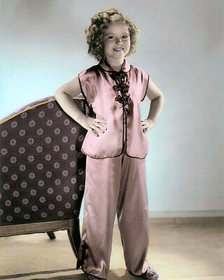 """SHIRLEY TEMPLE STOWAWAY 1936 CHILD ACTRESS 8x10"""" HAND COLOR TINTED PHOTOGRAPH"""