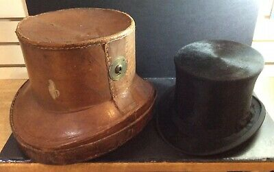 Antique 19th Century Tan Leather Travelling Top Hat Case/Box w/Vintage Top Hat