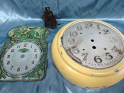 "VTG Art Deco HALLER 10"" DIAL STEMPUNK art + USSR WALL CHILD CLOCK DIAL + PARTS"