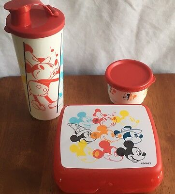 Tupperware Ears Through Years Lunch Set Sandwich Keeper Tumbler Snack Cup NEW