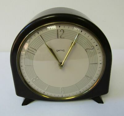 Vintage 1950s Smiths 8 day Dome Bakelite Mantel Clock & Key Serviced Working
