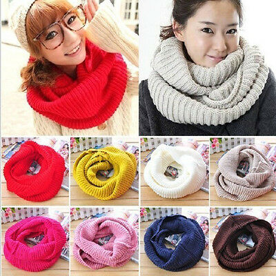 Soft Women Winter Warm Infinity  Cable Knit Cowl Neck Long Scarf Shawl Charm l