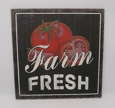 "FARM FRESH Garden Tomatoes Primitive Farmhouse Wood Sign Country 12"" x 12"""