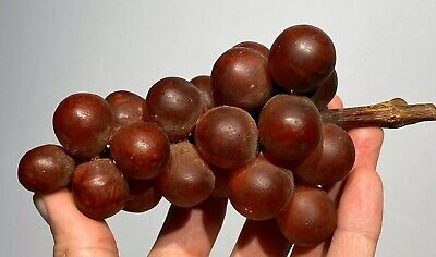 Early Vintage Antique Italian Alabaster Stone Fruit Alabaster Deep Red Grapes NM