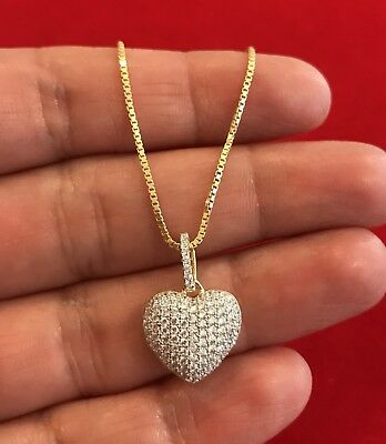Women's Pendant 14K Gold Finish Sterling Silver PUFFY HEART With Chain
