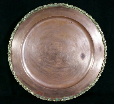 """Antique Hvy Copper Dish Or Tray With Hand Carved Gold Trim Unmarked 11 1/8"""" GOOD"""