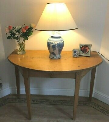 Antique 19Th Century Maple Canadian 'Demi Lune' Hall Table Console Table