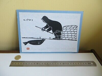 Vintage Native Inuit Folk Art Picture Print Eskimo & Seal Signed Henry Napartuk