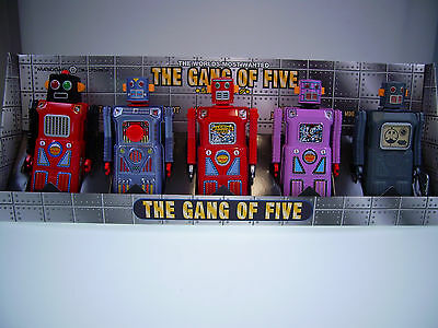 """GSR ROBOT """"THE GANG OF FIVE"""" 13cm, TIN TOY, SELTEN !, NEU/NEW/NEUF in new BOX!"""