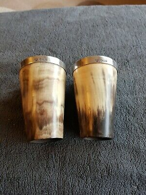 Pair Of 19Th Century Silver-Rimmed Cow Horn Beakers (Scottish ?)
