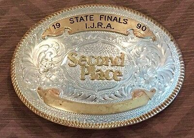 Vtg **1990 I.j.r.a. Iowa Junior Rodeo* Cowboy Montana Silversmiths Trophy Buckle