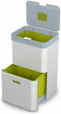 WITH DENT Joseph Joseph Totem 48 Litre Stainless Steel  Lid Recycling Bin Silver