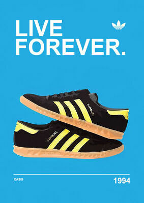A3/A4 - Live forever oasis 1194 ADIDAS CASUALS Advert Avertisements Posters
