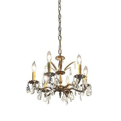 "Vintage 18""d Ornate Brass Crystal Chandelier Hollywood Regency Neoclassical"