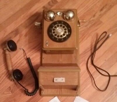 Vintage Wood Wall Phone Antique Replica Spirit of St. Louis works push dial bras