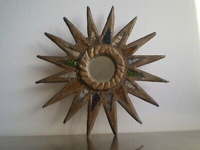 Mirror Sun Antique Design 1950 Glass Colored and Lead Deco Style Witch Xx ° S