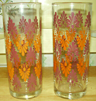 PAIR OF VINTAGE 1970s TUMBLER GLASSES ABSTRACT PRINT IN ORANGE AND PURPLE
