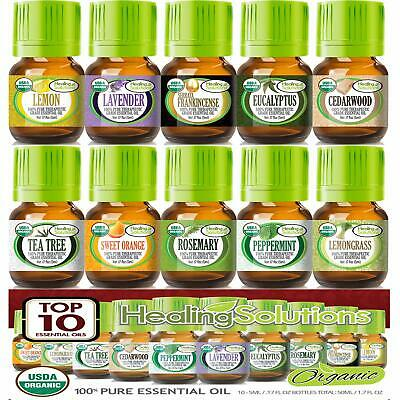 Top 10 Organic Essential Oils Set (10 Pack - 100% Pure & Natural) USDA Certified