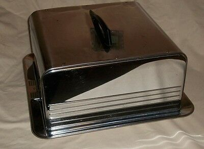 Vintage Retro Metal Chrome Cake Dessert Locking Mid Century Metal Cake Saver
