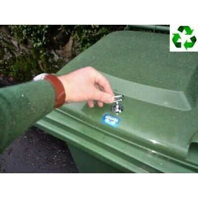 Universal wheelie bin lock, easy to fit, strong and discrete.FREE hole saw