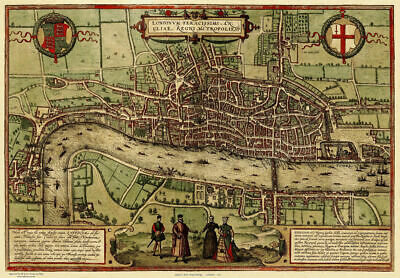 A3/A4 Size - Old Map of London in 1572 Art old Posters
