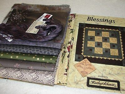 BLESSINGS Embroidery Quilt Kit & Floss By Kathy Schmitz 42x42