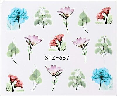 Nail Art Stickers Water Decals Pale Black White Flowers (BN1219)