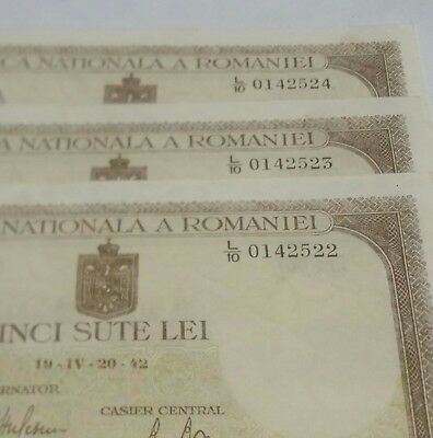 1942 ROMANIA 500 Lei. Lot of 3 Consecutive Serial Number Notes. Unc- very rare