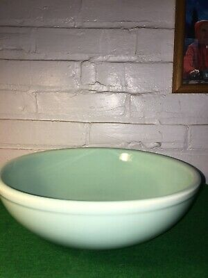 Vintage Lu-Ray Pottery Surf Green 10 Inch Bowl Made In Usa 1940's Rare Shape