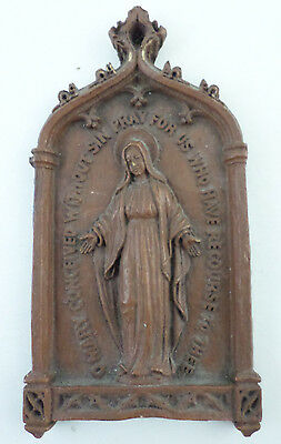 Vintage Syroco Formed Wood VIRGIN MARY Pray for Us Religious Wall Plaque