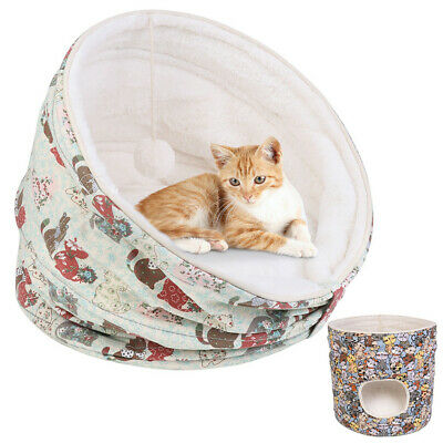 Warm Fleece Igloo Pet Bed Fluffy Cave House w/ Cushion For Dog/Puppy/Cat/Kitten