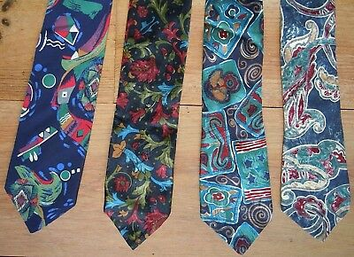 4 VINTAGE TIES, BLUE (1980s) M&S/MARKS & SPENCER, GD CONDITION