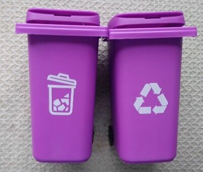 "/"" New /"" Barbie Trash //Garbage// Recycle Cans Set on Wheels Turquoise~*~ Cute"