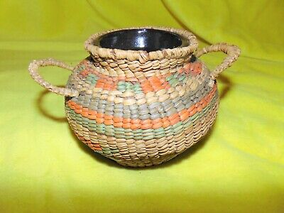Antique Native American Indian Coil Coiled basket W/Handles +Stoneware crock Jar