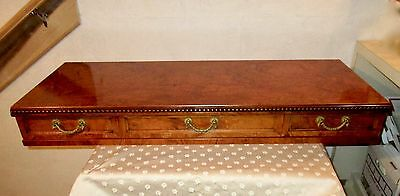 Vtg Italian Import- ENGLISH REGENCY 3-DRAW WALL SHELF / BRIDGE- ASH BURLWOOD NOS