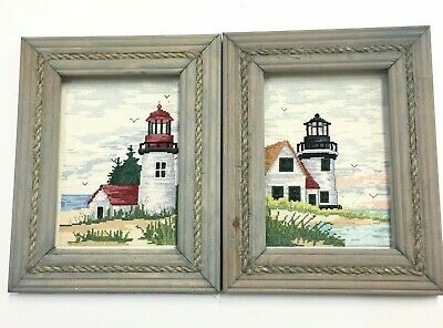 Lighthouse Counted Cross Stitch Kit Nautical Rope Frames Completed Pair Set Blue
