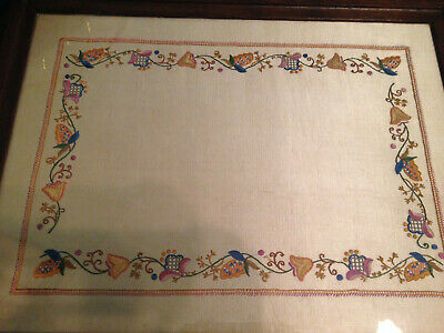 Vintage Wooden Dinner Serving Tray ~ Hand Embroidered Jacobean Style Flowers